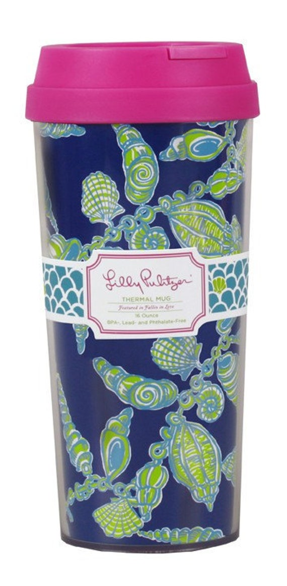 Personalized Lilly Pulitzer FALLIN' IN LOVE Insulated Thermal Mug