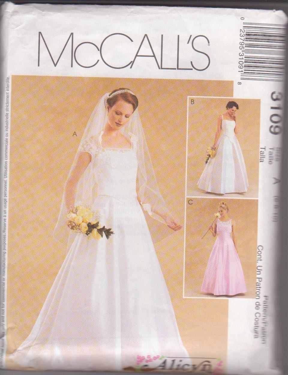 Mccall 39 s alicyn wedding gown dress pattern 3109 size for Wedding dress patterns mccalls