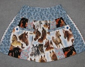 Sale - Pretty Horses in Blue size 3 skirt