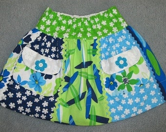 Sale - Gidget skirt in blue and lime, size 4