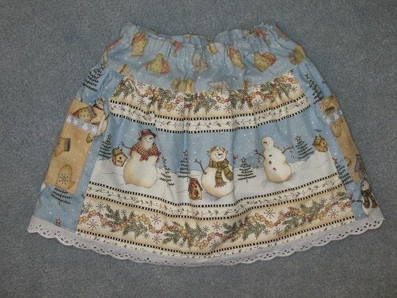 Sale - Reversible snowman skirt size 3T