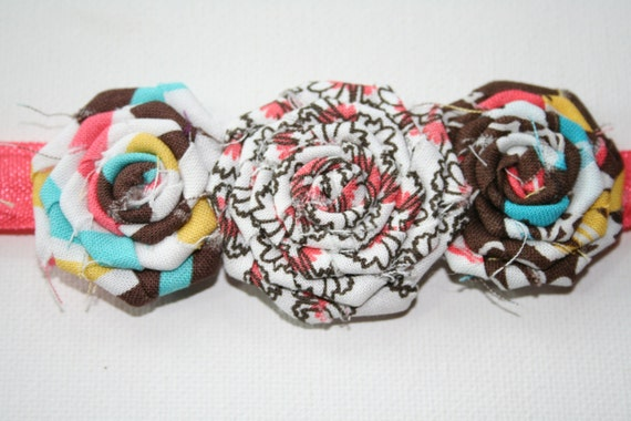 NEW -- Triple Rosette Headband in brown, pink, white and aqua