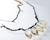 Black and Silver Tattered Necklace with Gems