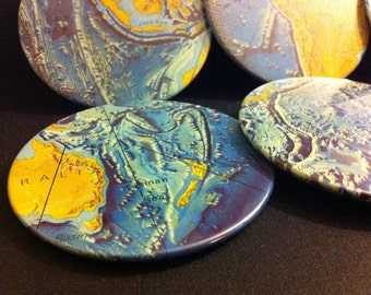World Oceans map coasters - set of 6