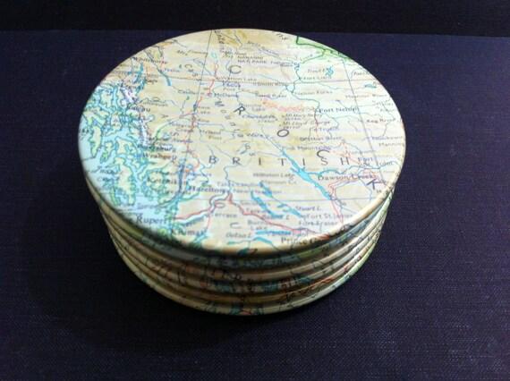 Western Canada Vintage Map Coasters - Western Canada, Canada (Set of 6)