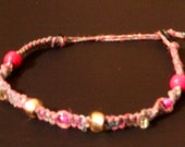 Pink Handmade Hemp Necklace Beaded