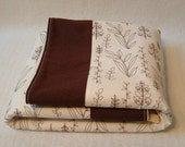 fleece stroller blanket, crib quilt, play mat, sketched dill flowers with brown trim