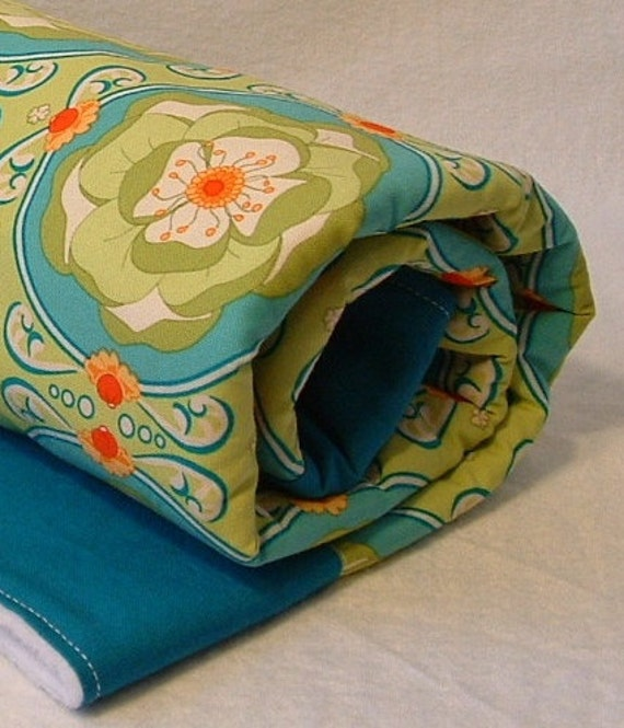 baby blanket, fleece stroller blanket, crib quilt in green and turquoise coin pattern