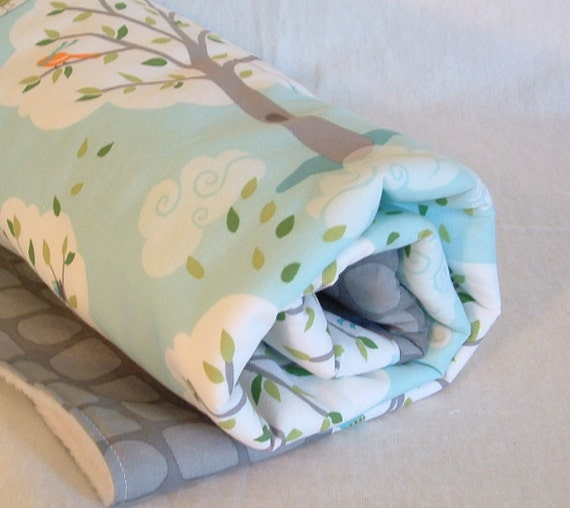 fleece baby blanket, stroller blanket, crib quilt, play mat, tummy time mat with trees, swings and windy weather