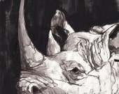 "Rhinoceros - Fine Art Print - 13"" x 19"""