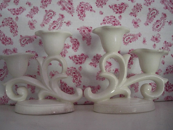 Vintage Pair of Candle Sticks Holders Ceramic Made in Japan White