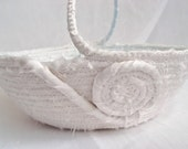 Flower Girl Basket, Handmade White Wedding Bowl,  Lovely Sateen Wedding Table Candy Dish, hand wrapped and hand coiled fabric