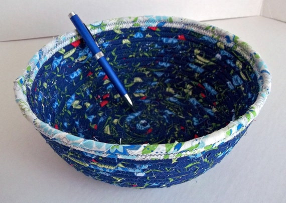 Blue Coiled Basket, Lovely Napkin Basket, Fruit Bowl, Key and Change Basket, hand wrapped and hand coiled fabric,