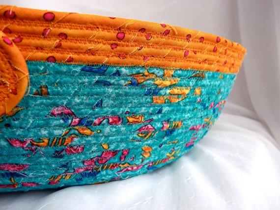 "Turquoise Cat Bed, Handmade Aqua Cat Bed, 12"" Dog Bed, hand wrapped and coiled fabric"