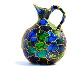 Hand Painted Glass Pitcher Vase, emerald green