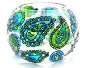 Hand Painted Glass Bowl, Blue-Green paisley