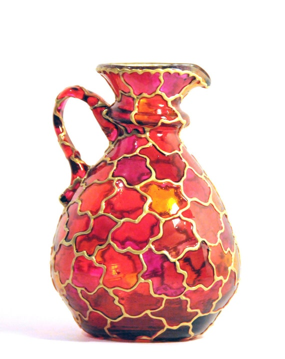 Hand Painted Glass Pitcher Vase, Red Collection