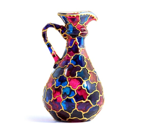 Hand Painted Glass Pitcher Vase