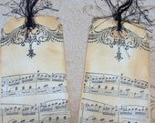 Vintage Paris Style Sheet Music Themed Gift Tags - Set of 4 Small Tags