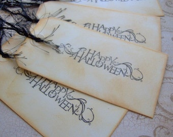 Happy Halloween Vintage Themed Hand Stamped Gift Tags - Set of 4