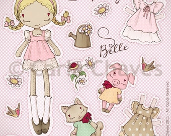 Spring Belle paper doll - made to order