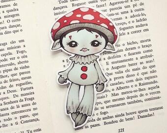Mushroom pocket size - bookmark - made to order