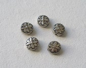Round Flower Metal Spacer Beads - 5 Count