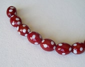 Red and White Polka Dot Oval Glass Beads - 10 Count