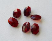 RESERVED for LuAnn : Dark Red Multifaceted Oval Glass Beads - 14 Count
