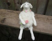 Knitted sheep - white ewe with flowers