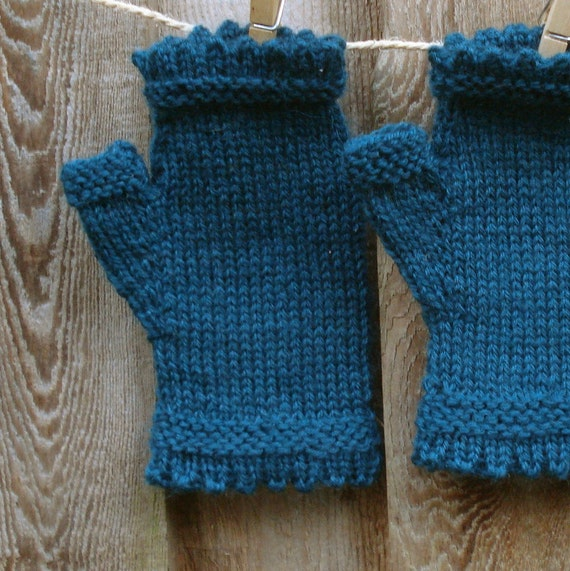 Teal blue mohair fingerless mittens with lace edging