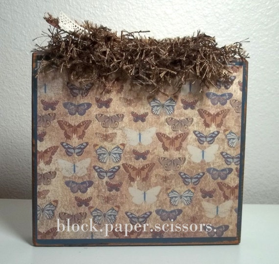 Antiqued Blue and Vintage Butterfly Photo Block