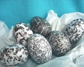 EASTER DAMASK - 6 decoupage eggs - handcrafted decor - made to order, black and white Easter eggs