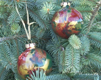 Swirl Christmas Balls - 4 Glass Ornaments - Handcrafted -  Green Red Gold - Add a Monogram, SALE - Was 20 dollars