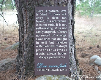 Custom Sign - LOVE IS PATIENT, love never fails - large wood sign, Bible verse, scripture sign, subway