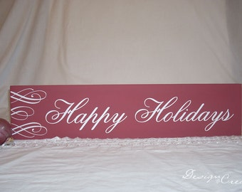 Holiday Sign - HAPPY HOLIDAYS Wood Sign - You Choose Colors, Custom Made - Christmas Sign, swirls