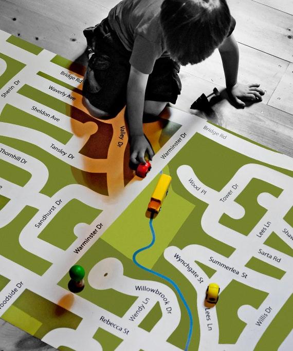 Your Neighborhood Custom Map Play Mat I Am Here Large