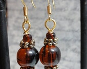 Round Amber and Gold Beaded Earrings