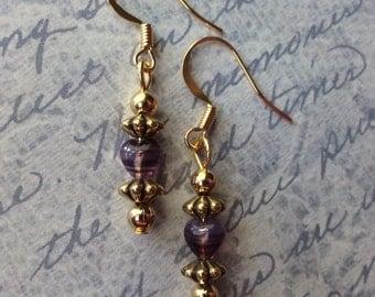 Purple Heart and Gold Beaded Earrings