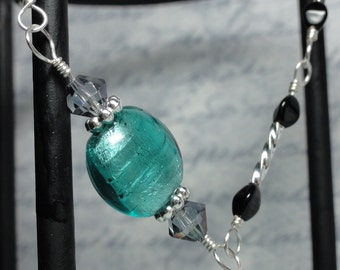 Turquoise, Silver, and Black Beaded Bracelet