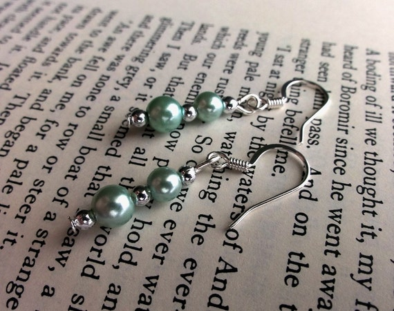 Green Pearl and Silver Beaded Earrings