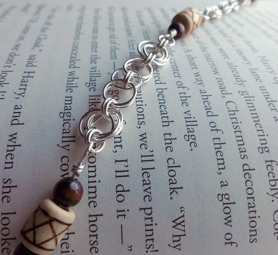 Wood Bead and Silver Chain Bracelet