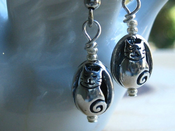 Handcrafted Sterling Silver Cat Charm Egg Earrings