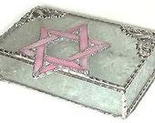 Stained Glass Jewelry Box - Jewish Design - Pink Star of David Jewel Box, Glass Trinket Box - Bat Mitzvah Gift, Jewish Gift Idea - 0043-P-CC