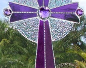 Stained Glass Cross Suncatcher Christian Cross Design Handcrafted Glass Sun Catcher Purple Glass -  9516-PU