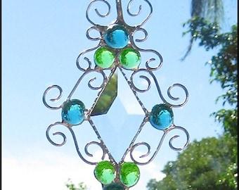 Stained Glass Sun Catcher - Handcrafted Glass Nugget & Bevel Suncatcher - Green - Aqua - Sun Catcher - Decorative Wire -202-AQ-GR