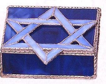 Stained Glass Jewelry Box - Glass Jewish Design - Blue Star of David, Glass Jewel Box, Jewish Star Design - Bat Mitzvah Gift Idea -  0005-BB