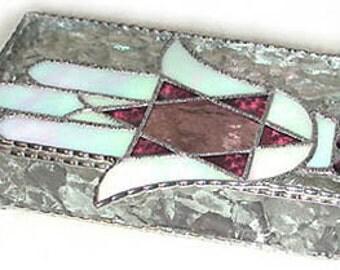 """Stained Glass Jewel Box, Jewish Design - 6 x 9"""", Glass Jewelry Box - Star of David Design - Jewish Gift Idea - Bat Mitzvah Gift - 0048-CC-P"""