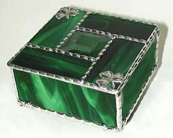 Stained Glass Jewel Box, Stained Glass Jewelry Box, Center Bevel,  Irish Shamrock Design, Irish Gift, St Patrick's Day Gift,  - 0084-EG