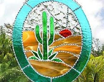 "Stained Glass Suncatcher, Southwest Cactus, Stained Glass Window Art, Sun Catcher, Glass Southwestern Sun-Catcher - 10"" x12"" - G-9569"